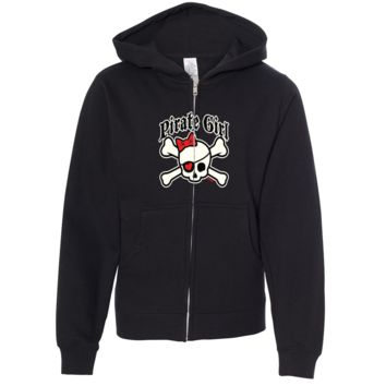 Pirate Girl Premium Youth Zip-Up Hoodie