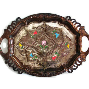 Vintage coffee SERVING tray, hand painted flowers, etched copper ornate FOLK art plate, Anatolian Turkish Erzincan metal etching crafts