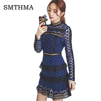 SMTHMA HIGH QUALITY Newest 2017 Summer Self Portrait Dress Women's Long Sleeve Hollow Out Cascading Lace Dress