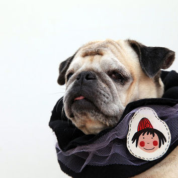 dog snood, scarf for pug and cat, ooak collar black