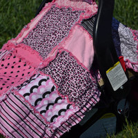 CAR SEAT TENT, Pink and Black Leopard Print, Nursing Cover, Rag Quilt, 3 in 1,  Ready to Ship