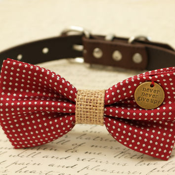 Red Dog Bow Tie attached to collar, Burlap wedding, Christmas gift, Cat bow