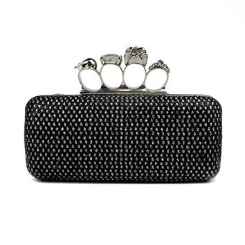 VMATE® Glitter Metallic Duster Four Ring Knuckle Clutch Evening Purse