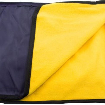 New Water Resistant Outdoor Travelling Hiking Throw Blanket + Stadium Cushion + Bag + Pillow - Navy/Gold