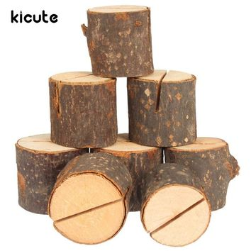 Kicute 10pcs/pack Tree Stump Design Rustic Wedding Table Wooden Place Number Name Card Mini Clip Holder School Stationery