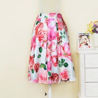 Floral Printed High Waist Midi Skirt