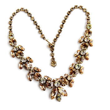 Vintage Clear & Topaz Rhinestone Necklace -  Signed Regency Gold Tone Designer Costume Jewelry / Topaz Golden Glow