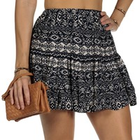 SALE-Navy Tribal Floral Print Skirt
