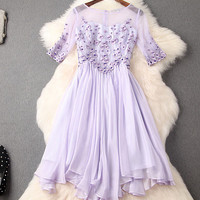 Unique Handmade Beading Embroidery Silm Dress Party Dress-Dark pink