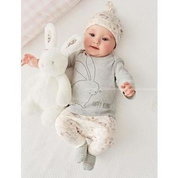 Cute Bunny Newborn Baby Boy Girl Bodysuit Hat Romper T-shirt Pants Outfits Sets [8833427852]