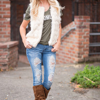 Makes Me Wonder Faux Fur Sweater Vest (Cream)