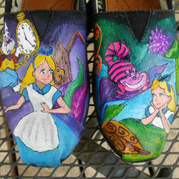 SALE Custom Painted Shoes Alice In Wonderland by seriouslysavage