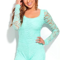 MINT MESH LACE LONG SLEEVES SCOOP NECK ROMPER