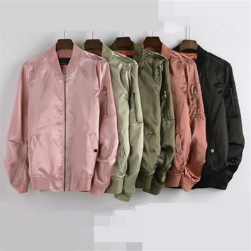 New fall collar satin zipper baseball uniform jacket high quality