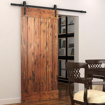 Soft Close Sliding Barn Wood Door Hardware Country Style Black Barn Track Kit W/ Soft Close Mechanism
