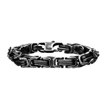316L Stainless Steel Oxidized Antique 8mm Byzantine Link Men's Bracelet 8.5""