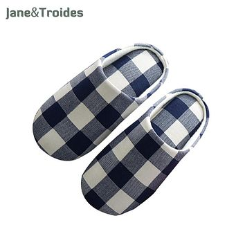 Classic Plaid Spring Men Slippers Home Bedroom Soft Comfortable Flip Flops Casual Indoor Outdoor Sandals Fashion Woman Shoes