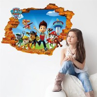 3d Effect Cartoon Wall Sticker decals For Kids Rooms children PVC Wall Art Decals Nursery Rooms Decor Boy's Gift