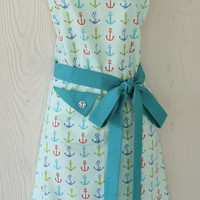 Teal Anchor Apron, Nautical Theme Apron, Retro Style Apron, KitschNStyle
