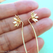 Long Stem Gold Earrings, Solid 18K Wild flower earrings, Unique dangle earrings, Fine Bridal jewelry