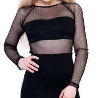 24 Hrs By Lip Service Black Fishnet Dress with Panels