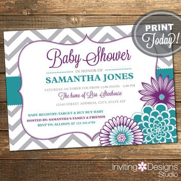 Baby Shower Package, Invitation, Thank You Card, Purple, Teal, Chevron, Floral, Flowers, Baby Girl, Printable File (INSTANT Download)