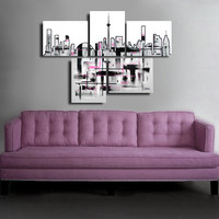 """Made to order. Original abstract painting. 5 piece canvas art. 29x41"""" Large painting of Toronto's skyline."""