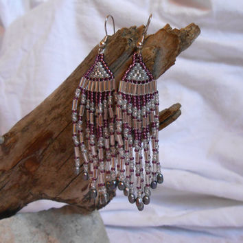 Hand Beaded Fringe Earrings, Brick Stitch,  Purple, Silver and Gray Czech Glass Seed Beads, Fresh Water Pearl, Native American Inspired