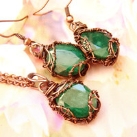 Emerald jewelry set, Copper emerald set, set emerald, emerald pendant, jewelry set, earrings emerald, Christmas gift for her FREE SHIPPING.