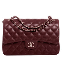 Chanel Burgundy Quilted Caviar Jumbo Classic 2.55 Double Flap Bag