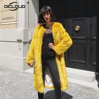 Women Winter Faux Fur Jacket Coat Luxury Extra Long Yellow Mink Fur Coat Fluffy Jacket Thicken Warm Outerwear Overcoat Women
