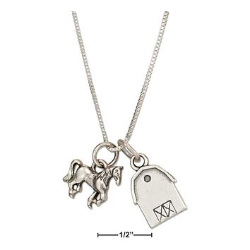 "Sterling Silver Necklace:  18"" Barn And Horse Pendant Necklace"