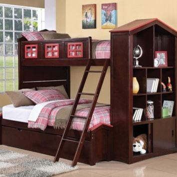 Coyle espresso and red finish wood Twin over Full bunk bed set with storage bookcase end and paneled headboards with trundle