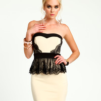 Cream Lace Peplum Dress