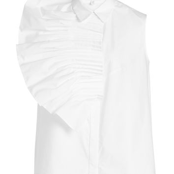 Pin Tuck Fan Sleveless Cotton Shirt - Delpozo | WOMEN | KR STYLEBOP.COM