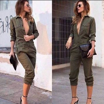 Fashion Loose Long Sleeve Woman's Casual  Jumpsuits = 5658817601