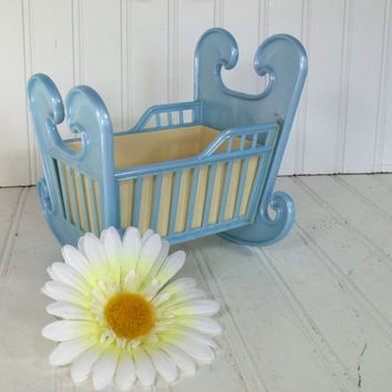 Retro Blue Cradle Planter - Vintage Celluloid 2 Pieces - Shabby Chic for Repurposing