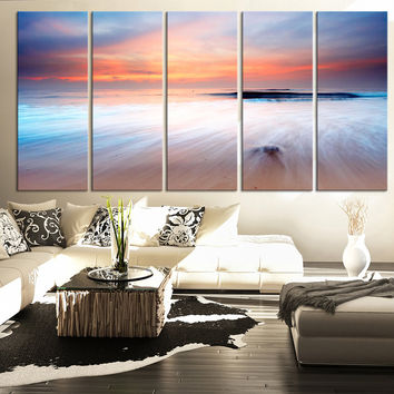LARGE CANVAS ART - Canvas Art Beach and Waves - Sunset and Seascape Canvas Art Prints For Wall - Large Canvas Print