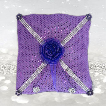 Purple Ring Bearers Pillow - Wedding Pillow - Ring Pillow - Purple Wedding - Bling Wedding - Pillow For Wedding
