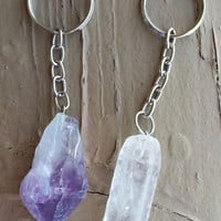 Raw Quartz Keychain
