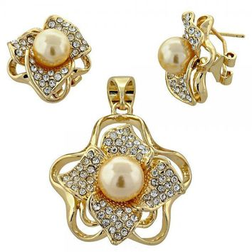 Gold Layered Earring and Pendant Adult Set, Flower and Ball Design, with Pearl and Crystal, Golden Tone