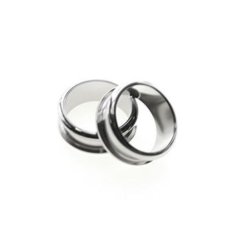 A Pair of 25mm 1 Inch Surgical Steel Screw Fit Plain Flesh Tunnel Ear Plugs Choose Your Design (Stainless Rounded Edges)