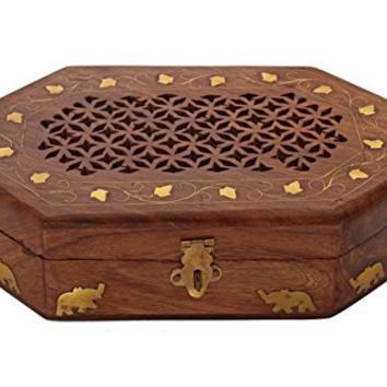 Regal Hand Carved Rosewood Jewelry Box Organizer with Intricate Carvings