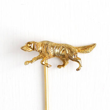 Antique Yellow Gold Washed Hunting Dog Stick Pin - Vintage Victorian 1900s Man's Best Friends Yellow Rhinestone Figural Stickpin Jewelry