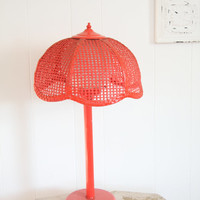 Red Lamp, Underwriters Laboratories Lamp, Vintage Table Lamp, Wicker Lamp Shade, Globe Light, Retro Home Decor, Teen Girls Room, retro light