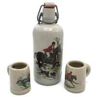 Vintage Pottery Stoneware Swing Top Liquor Bottle And Shot Glass Set English Fox Hunt Scene