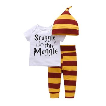 Newborn Baby Clothing Set Cotton White Letters Snuggle This Muggle T-shirt + Yellow Striped Pants Children's Boys Girls Clothing