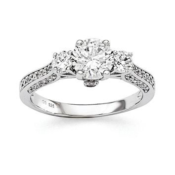 Sterling Silver And CZ Brilliant Embers 3-Stone Accented Ring