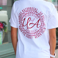 University of Arkansas Monogram V-neck Tee {White}