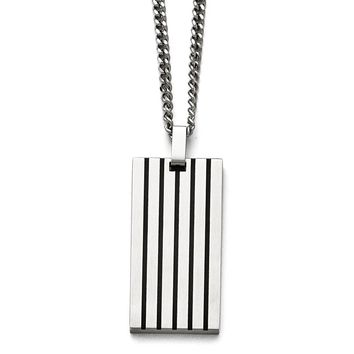 Black Rubber Striped Brushed Stainless Steel Dog Tag Necklace, 22 Inch